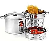 4-Piece 8 Quart Pasta Cooker Steamer Multipots, Stainless Steel