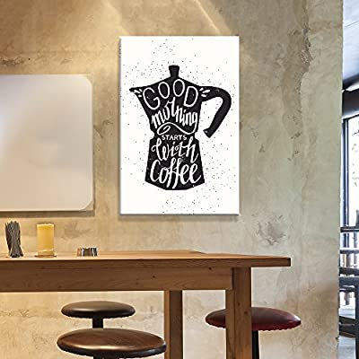 Canvas Wall Art - Vintage Style Bottle with Good Morning Starts with Coffee Quotes - Giclee Print Gallery Wrap Modern Home Art Ready to Hang - 24x36 inches