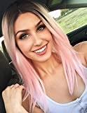 K'ryssma Pink Lace Front Wig Ombre Dark Roots Straight Short Bob Synthetic Wig for Women Fashion Bob Ombre Synthetic Lace Wigs