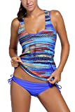 Dearlovers-Women-3-Pieces-Tribal-Print-Tankini-Swimsuit-with-Panty-or-Boyshorts