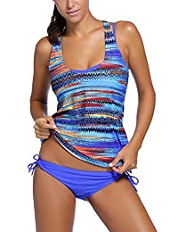 Dearlovers Women 3 Pieces Tribal Print Tankini Swimsuit with Panty or Boyshorts