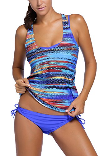 Dearlovers Womens EKG Print Racer Back Sporty Swimwar Swimsuit Large Blue