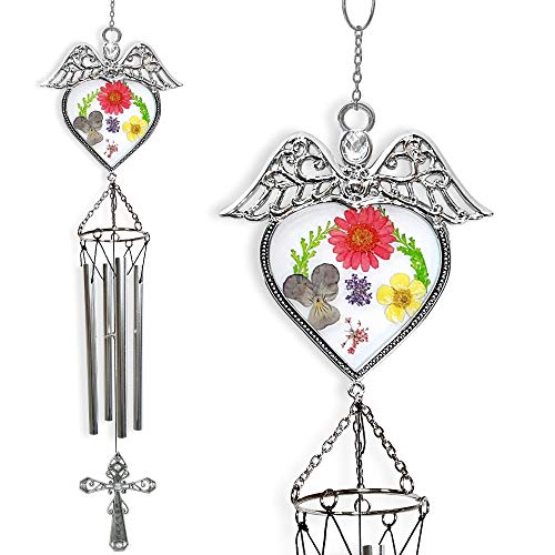 BANBERRY DESIGNS Mom Wind Chimes - Angel Windchime with Pressed Flowers and Metal Mother Cross Medallion - Wind Chime Gifts for Mom's Garden Décor ()
