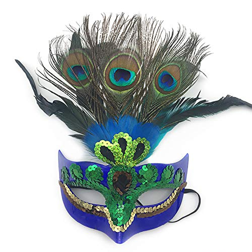 Peacock Feather Mask,Makeup Mask Prom Mask Party Mask Venetian Masquerade Mask for Womens Blue]()