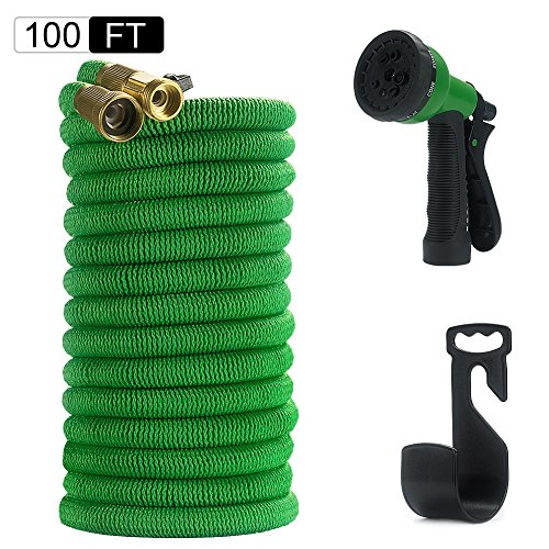 Ruifeng Water Hose Expandable & Retractable with Brass Connectors and 8-way Spray Nozzle Green-100ft