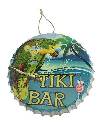 Tiki Bar Metal Bottle Cap Hanging Sign with Parrot