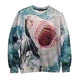 SODIAL(R) Hot Mens Womens Couple Sweater retro 3D ferocious shark mouth Sweatshirt sweater Pullover Tops Jumper M