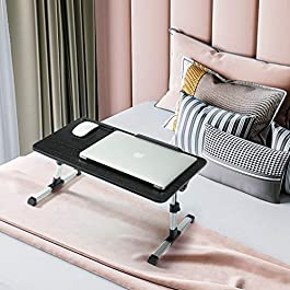 Qnex Laptop Bed Tray Table – Height Adjustable Computer Stand for Bedroom, Living Room – Portable Remote & Home Working…