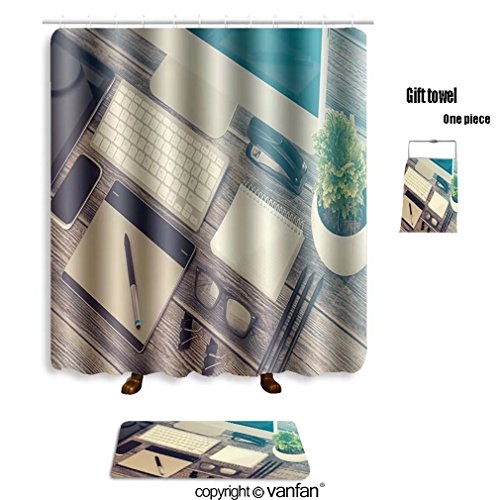 Mock Layer Dog (vanfan bath sets with Polyester rugs and shower curtain Responsive design mockup_606672136 shower curtains sets bathroom 72 x 96 inches&31.5 x 19.7 inches(Free 1 towel and 12 hooks))