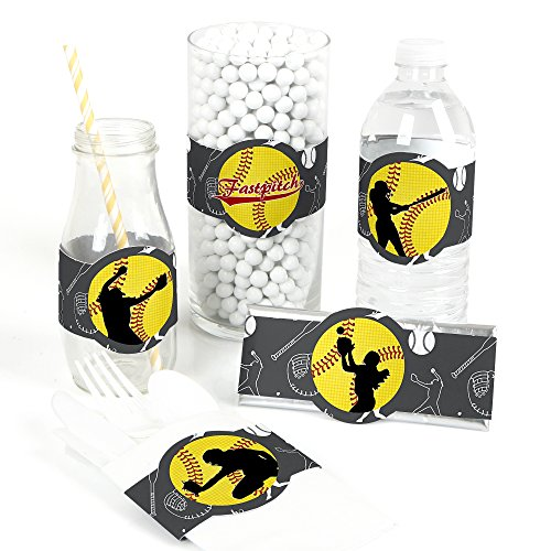 Grand Slam - Fastpitch Softball - DIY Party Supplies - Birthday Party or Baby Shower DIY Wrapper Favors & Decorations - Set of 15