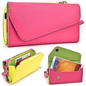 Magenta and Yellow Universal Phone Wallet Fits Samsung Galaxy S5 D9009D