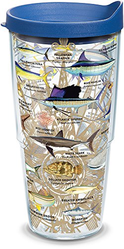 Tervis 1292546 Guy Harvey - Charts Insulated Tumbler with Wrap and Blue Lid, 24oz, Clear