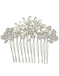 Ever Faith Austrian Crystal Wedding Flower Leaf Hair Side Comb