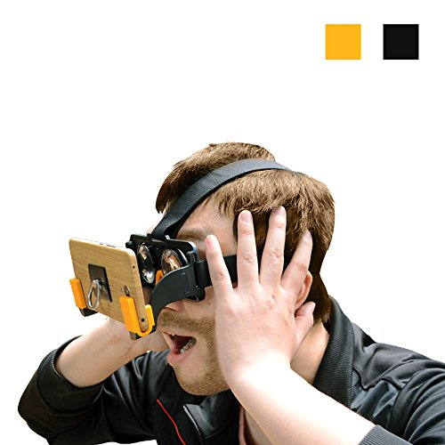 3D VR Glasses, SUNKONG 3d Virtual Reality Light Weight Cell Phone VR Headset Portable Google Cardboard For 3D Movies and Games Compatible with IOS & Android 4.7-6.0inches Smartphones (Black)