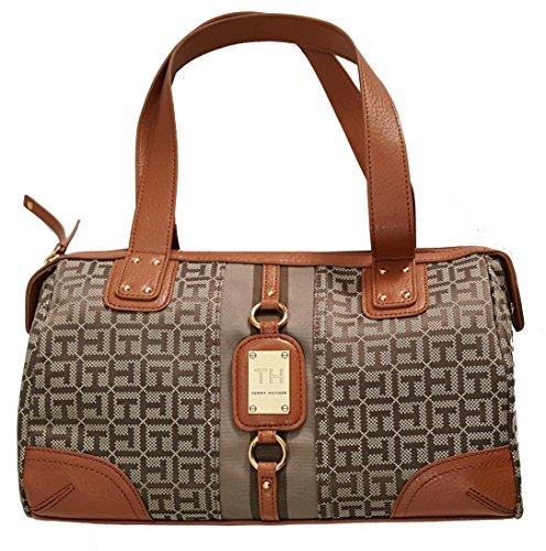 Tommy Hilfiger Signature Satchel Handbag Purse Brown Lather Multi