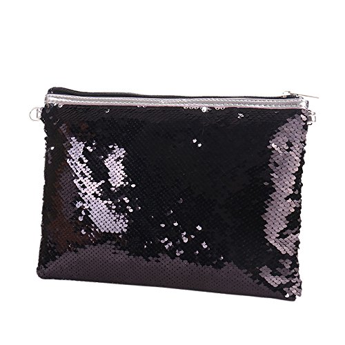 Women Clutch Ladies Shoulder Bag Sequin Bag Purse Handbag Shoulder Glitter Purse Black Gold for Evening xa1YAZZ8