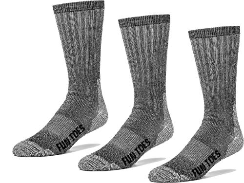 Argyle Thermal - FUN TOES Thermal Insulated Ladies 80% Premium Wool Socks - Pack of 3 - Ultra Warm Merino Wool - Arch Support - Ideal for Hiking (Black)