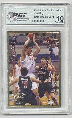 - 2001 Yao MIng SCI Gold ROOKIE CARD PGI 10 GEM ROCKETS