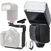 Automatic Swivel/Bounce Shoe Mount Flash Bracket Kit forCanon PowerShot SX60 HS Camera 180 Degree Bounce & Swivel Slave Flash - Speedlite Flash, SpeedLight Flash, Speedlyte Flash