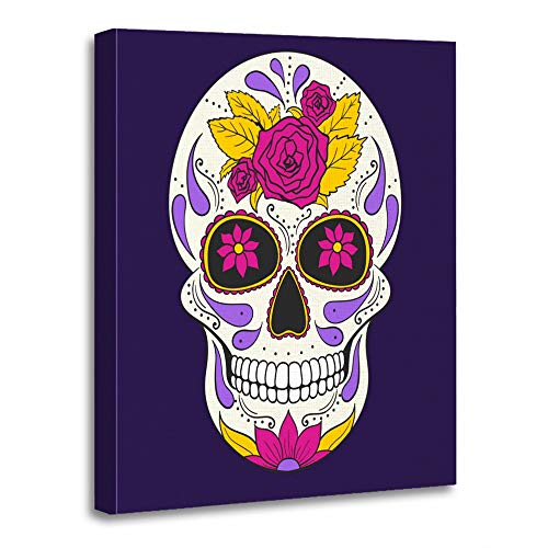 (Emvency Painting Canvas Print Artwork Decorative Print Wooden Frame Mask Skull with Floral Mexican Sugar Calavera Celebration Culture Dark Day Dead 24x32 Inches Wall Art for Home)