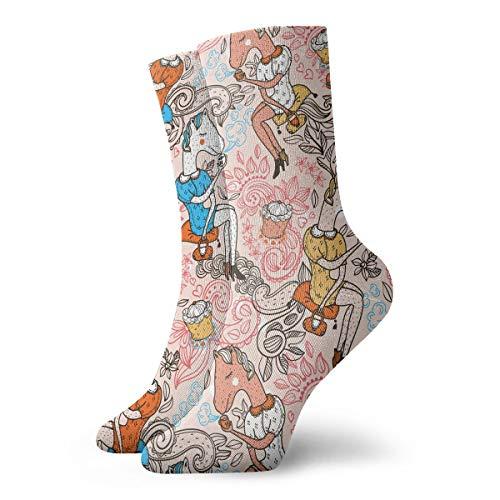 Funny Horses Drinking Tea Cupcakes Men & Women Fashion Cute Novelty Funny Casual Art Crew Socks]()