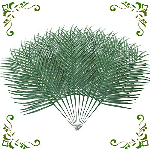 MHMJON 12pcs Artificial Palm Fronds Leaves Large Fake Tropical Plant Leaf Branches Faux Imitation Ferns Green Greenery Hawaiian Luau Wedding Table Centerpiece Indoor Outdoor Decoration 19.5