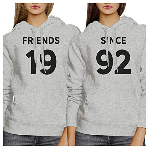365 Printing - Sudadera con capucha - Manga Larga - para mujer Friends Since Custom Years - Grey