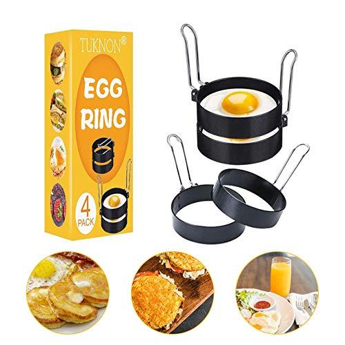 Anillo de Huevo, Egg Rings, Anillos de huevo antiadherentes, 4 pcs Inoxidable Tortilla de Cocina de Molde Antiadherente…
