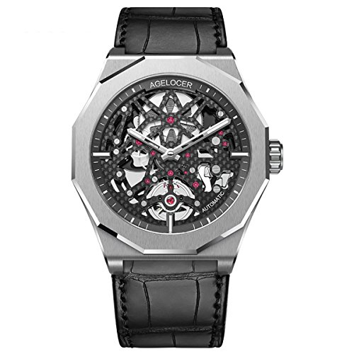 Agelocer Skeleton Diver Watches for Men Luminous Automatic Watches Power Reserve Sport Watches 6001A1