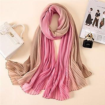 AHUIOPL nuevas mujeres bufanda de verano bloqueador solar de doble color plegado tela de algodón chales y abrigos de invierno bufandas, de color rosa caqui: ...