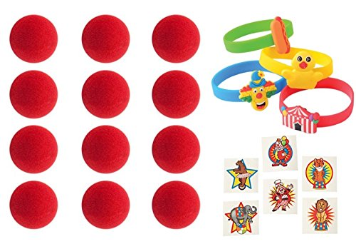 Carnival Circus Party Favor Set- Bracelets, Clown Noses, and Tattoos - 60 -