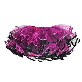 - 510TdjmxYTL - Fuschia/Black Tulle Tutu w/Sequin Trim 4 layers