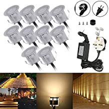 Docooler 10PCS 32mm Outdoor Waterproof LED Deck Light Kit Landscape Recessed Lighting for Step Stair Yard Garden Patio Warm White
