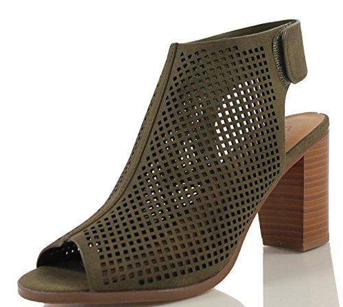 City Classified Women's Roadway Faux Leather Peep Toe Laser Cut Out Slingback Stacked Heels, Khaki, 10 M US