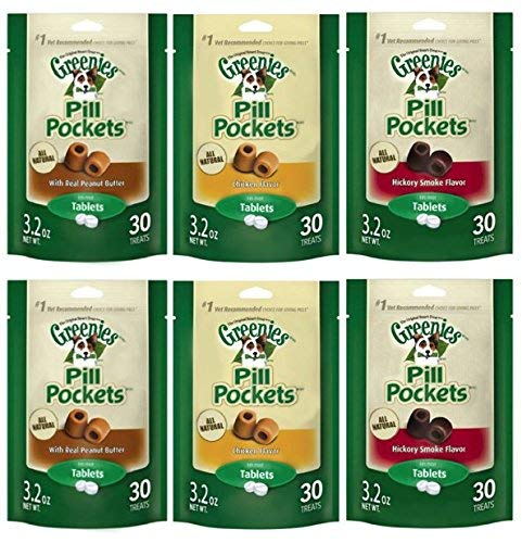 Greenies Pill Pockets Tablet Variety Bundle (6-Pack) 6 Bags Total - 2 of each flavor