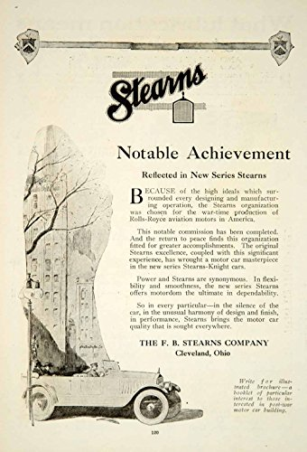 1919 Ad Fb Stearns Knight Car Roadster Automobile Brass Era Transportation Yrr1   Original Print Ad
