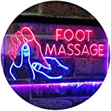 AdvpPro 2C Foot Massage Walk-in-Welcome Open Dual Color LED Neon Sign Blue & Red 12'' x 8.5'' st6s32-i2178-br