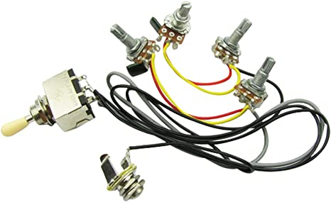 Amazon Com Musiclily Wiring Curcuit With 3 Way Box Toggle Switch And 2v2t 500k Pots With Jack For Lp Guitar Everything Else