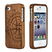 good case Unique Handmade Natural Wood Wooden Hard bamboo Case Cover for iphone 5c (Walnut Compass)