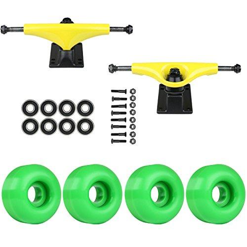 TGM Skateboards Skateboard Package Havoc Yellow 5.0 Trucks 50mm Kelly Green ABEC 7 Bearings