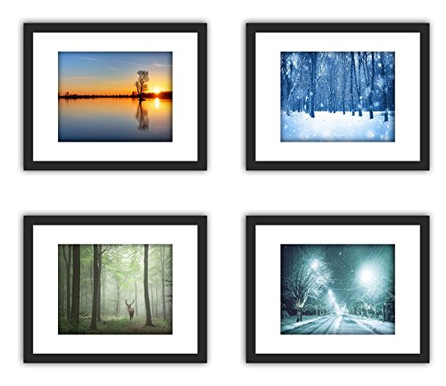 4Pcs 11x14 Real Glass Wood Frame Black,3 Kind Matted Fit 4x6 8x10 Image Pictures Photo Certificate 8.5x11 inch Desktop Stand or Wall Hang Vertical Horizontal Mat Family For Kid Painting (3 Tabletop Decoration)