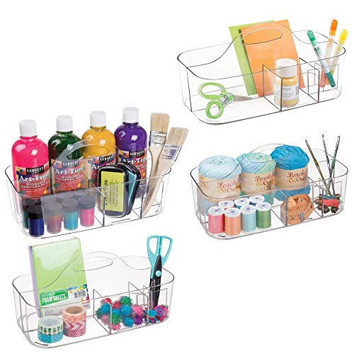 mDesign Plastic Portable Craft Storage Organizer Caddy Tote, Divided Basket Bin with Handle for Craft, Sewing, Art Supplies, Holds Paint Brushes, Colored Pencils, Stickers, Glue, Large, 4 Pack – Clear
