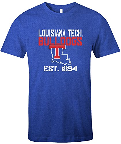Bulldog Baseball Jersey - Image One NCAA Louisiana Tech Bulldogs Est Stack Jersey Short Sleeve T-Shirt, Royal,X-Large