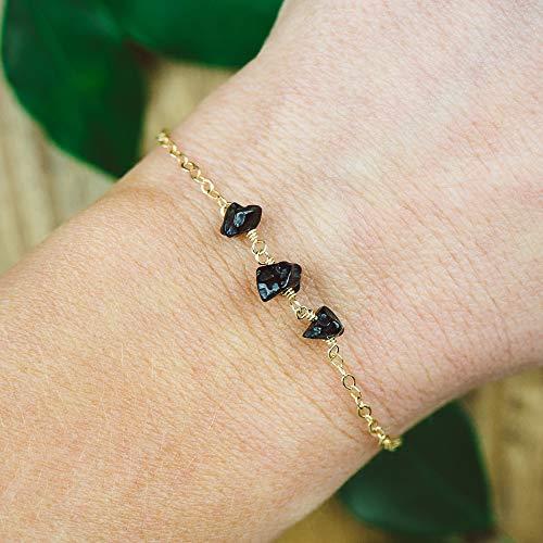 (Black onyx beaded chain crystal bracelet in 14k gold fill - 6