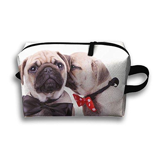 Travel Makeup Handbag Fall In Love Pug For Women Zipper Cosmetic Case by Kocvbng I