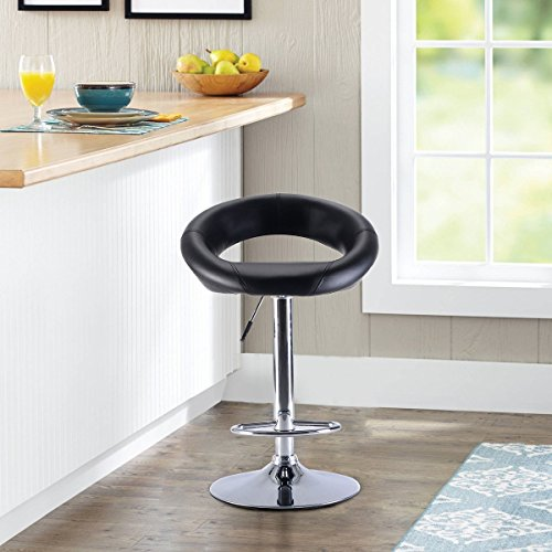 GentleShower Bar Stool, PU Leather Barstool Single Semi Circle Shape 360 Degree Swivel Height Adjustable Bar Stool Pub Chair Black
