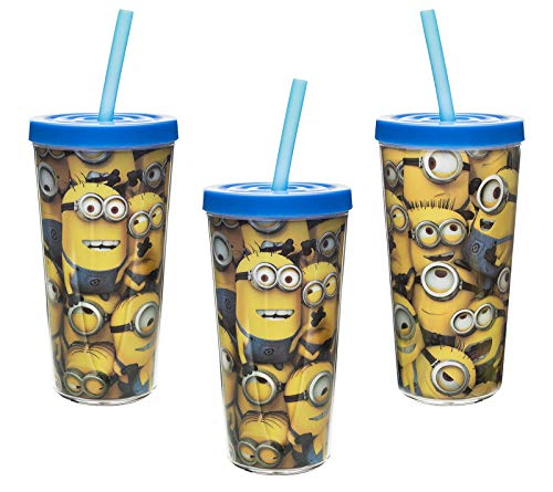 [3-Pack] Despicable Me Minions 16oz Insulated Drink Tumbler Cup with Lid & Straw, BPA-Free (Cup Holder Drink Straw With Me)