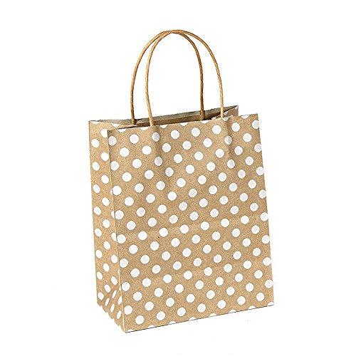 GIFT EXPRESSIONS Premium Quality Natural Brown Kraft Bag, Birthday Party Gift Favor Bag Set, Biodegradable Paper (12CT, Polkadots Medium)]()