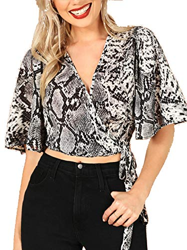 Snakeskin Wrap - Milumia Women Flounce Sleeve Snakeskin Wrap Knotted Crop Top Blouse Multicolor M