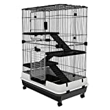 PawHut 3 Tier Rabbit Cage Indoor Rolling Small Animal Crate Hamster House Ferrets